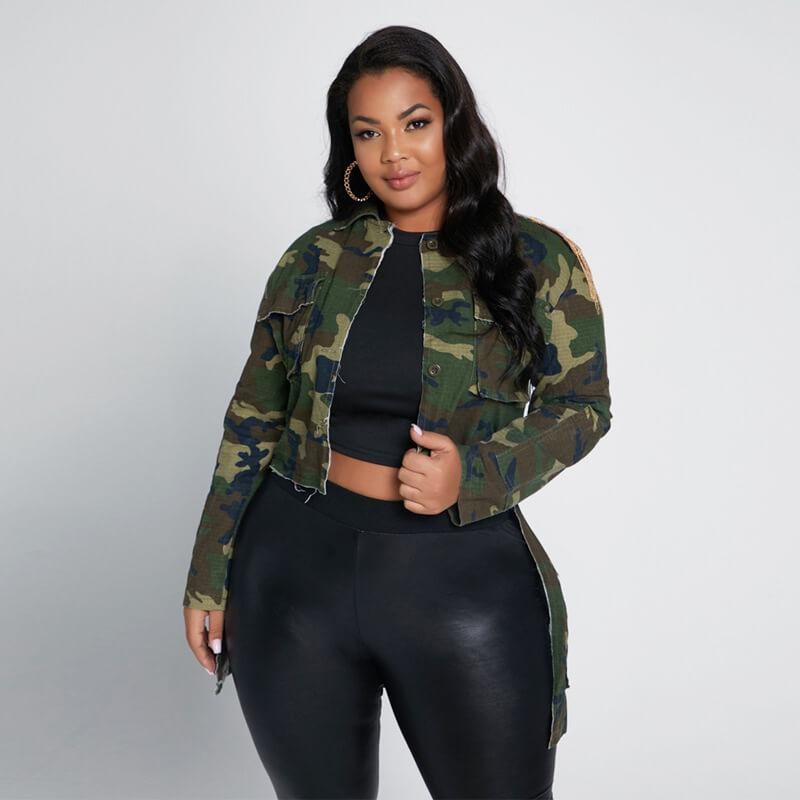 Plus Size Poncho Coat - camouflage positive