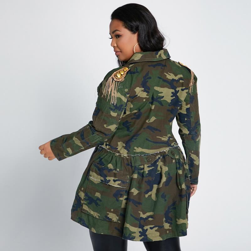 Plus Size Poncho Coat - camouflage back