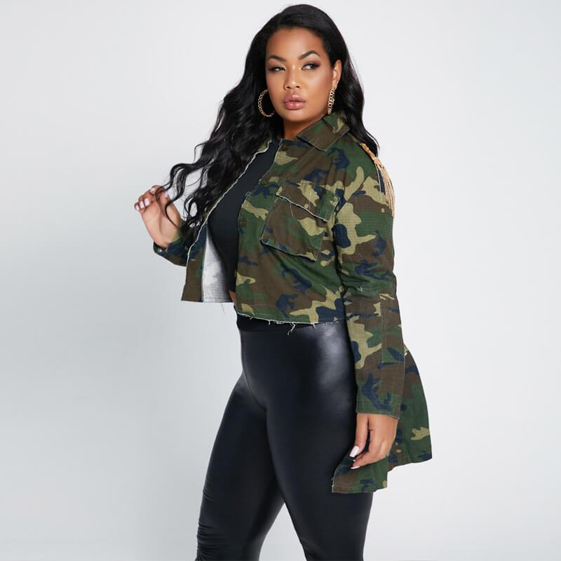 Plus Size Poncho Coat - camouflage left