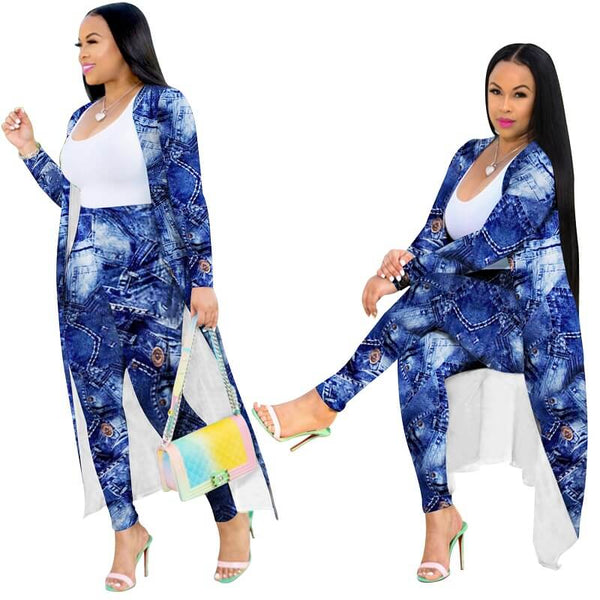 Plus Size Cardigan Two-piece Suit - blue main picture