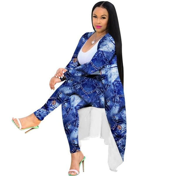 Plus Size Cardigan Two-piece Suit - blue positive