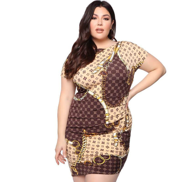 Chain Print Tight Crew Neck Dress