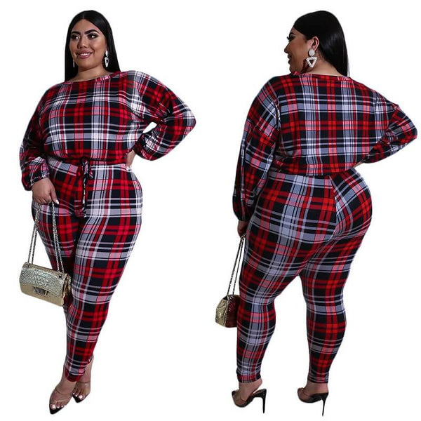 Plus Size Check Print Set - red main picture