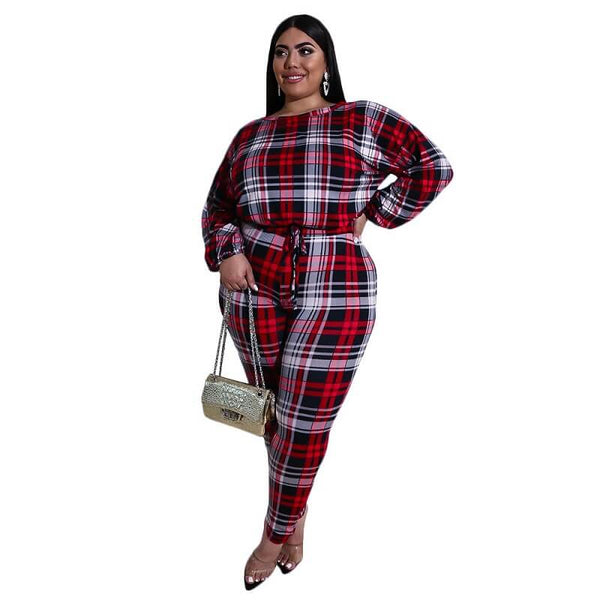 Plus Size Check Print Set - red color