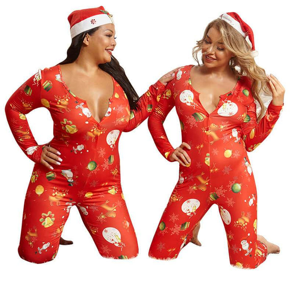 Plus Size Christmas Sexy Knitted Print Jumpsuit