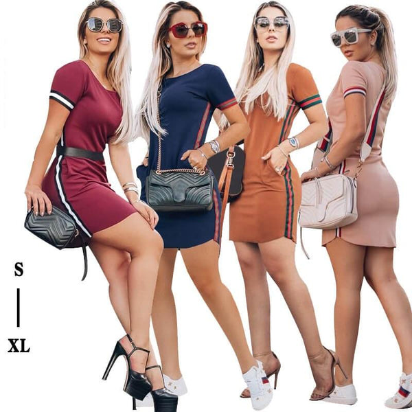 Contrast Ribbon Pack Hip Tight Dress
