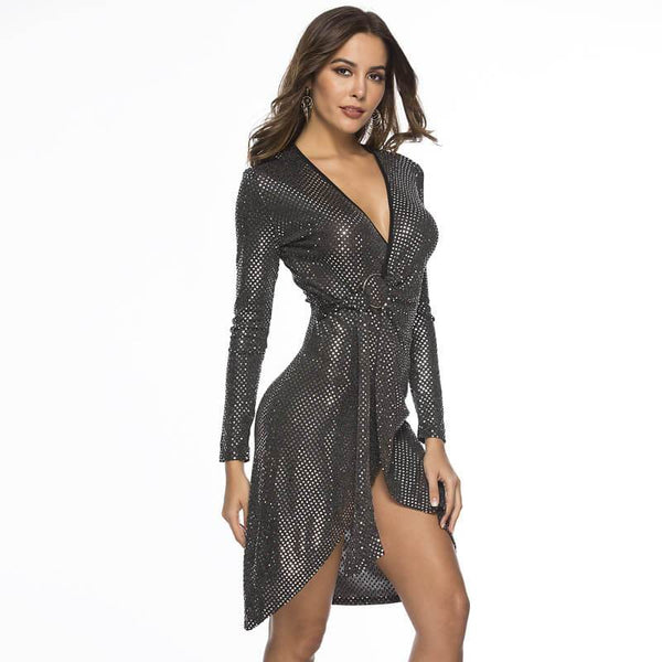 Deep V Sexy Glitter Dress - Wholesale Sexy Dress | Chic Lover