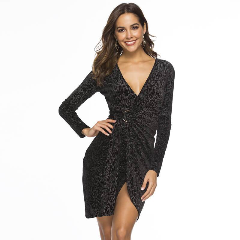 Sexy Shift Dress - black Color - front view
