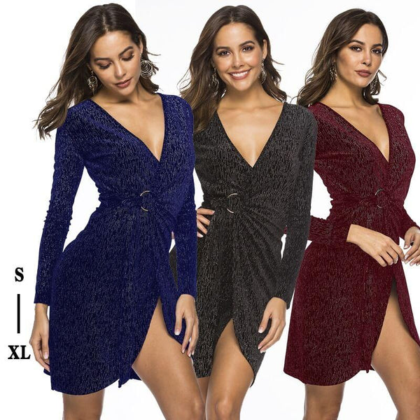 Deep V Sexy Tight Bag Hip Velvet Dress