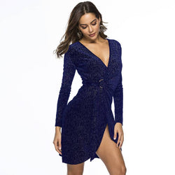 Sexy Shift Dress - Blue Color - front view