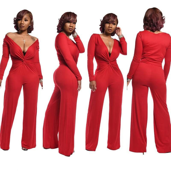 Deep V Solid Color Jumpsuit