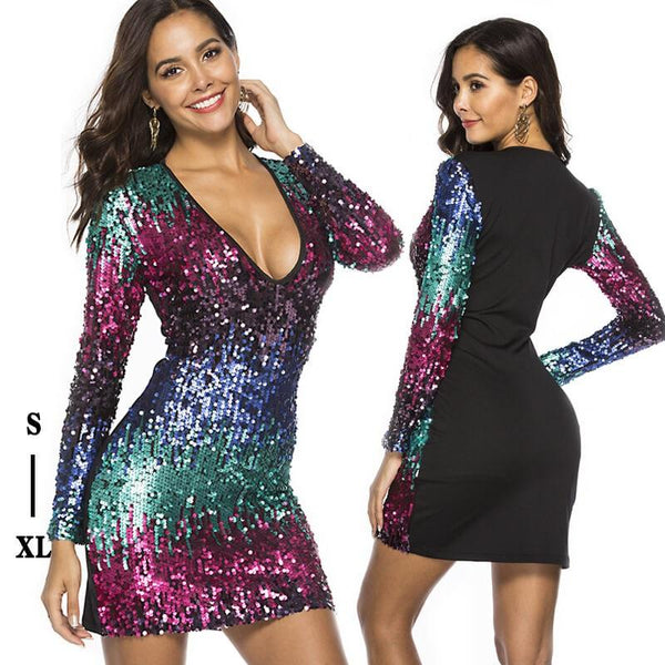 Deep V Long Sleeve Gradient Bead Sexy Dress