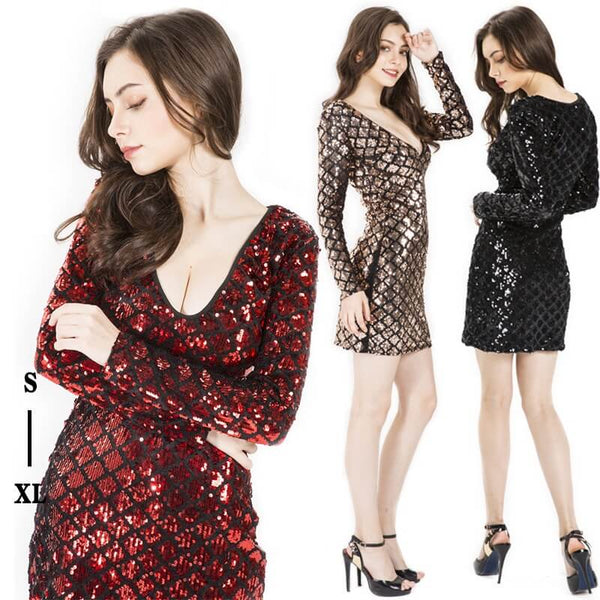 Deep V Sexy Beaded Fashion Dress