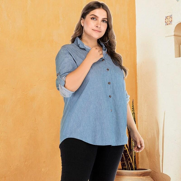 Denim Blouse Plus Size - light blue color