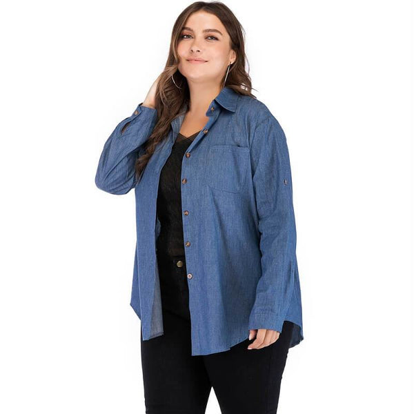 Denim Blouse Plus Size - dark blue main picture