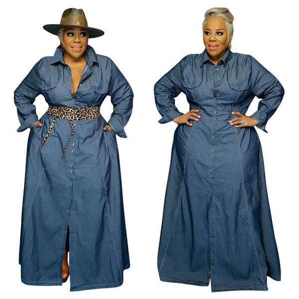 Plus Size Semi Formal Dresses  - denim blue main picture