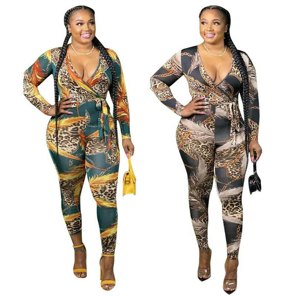 Plus Size Digital Printed Long-sleeved Jumpsuit