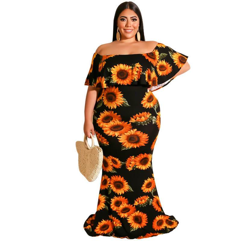 Plus Size Digital Printed Sexy Dress With One Shoulderr