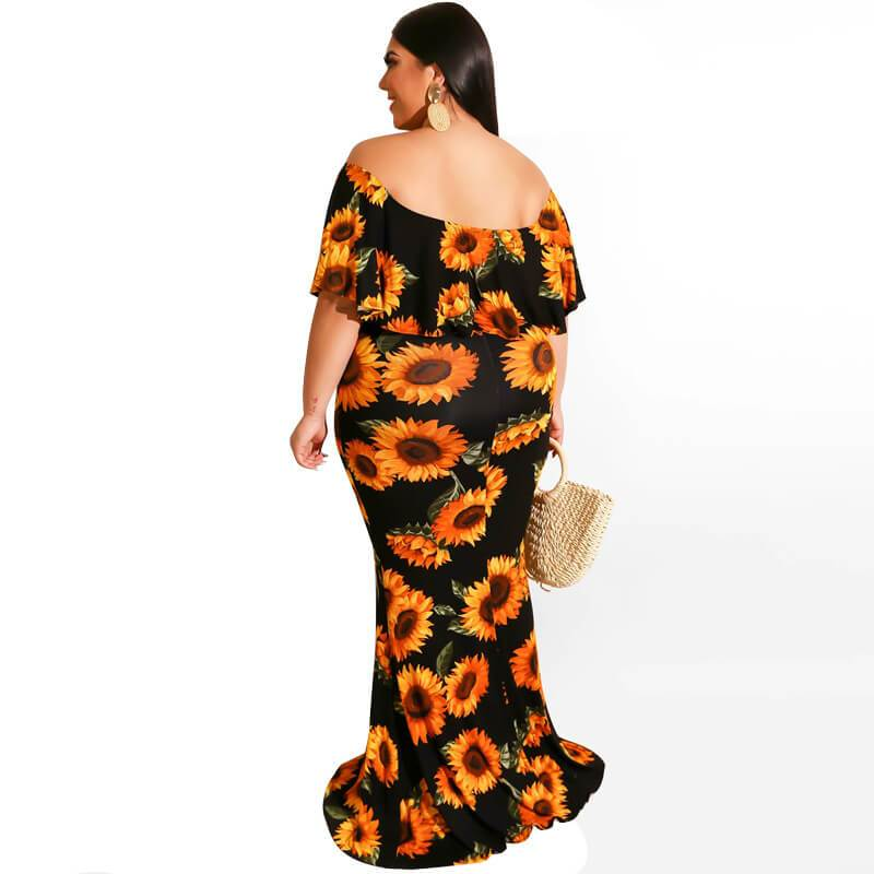 Plus Size Digital Printed Sexy Dress With One Shoulder