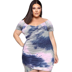 Plus Size Digital Tie Dye Hip Wrap V-neck Dress