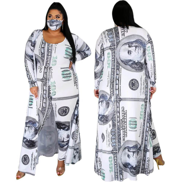 Dollar Print Jumpsuit Cape Ladies Suit