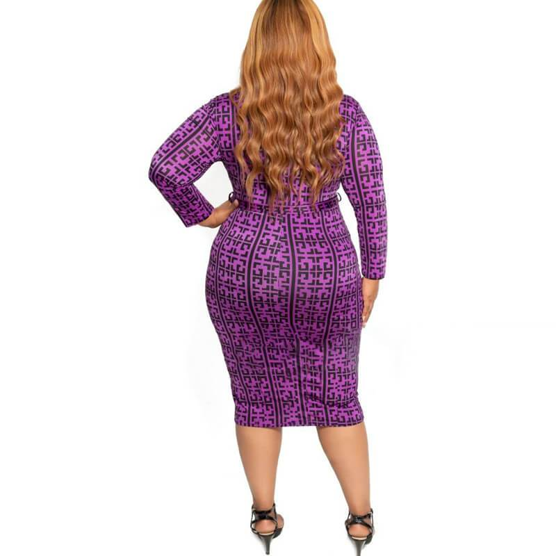 Cheap Plus Size Dresses - purple back