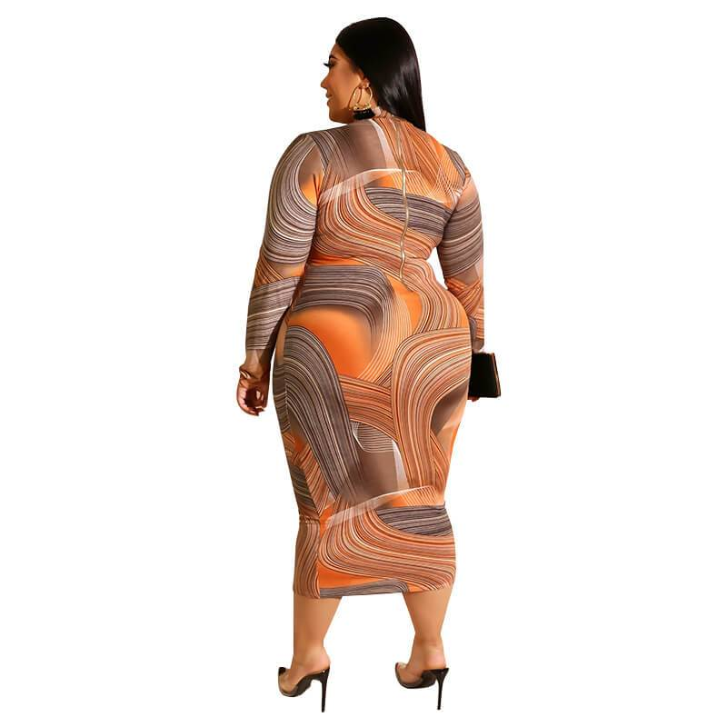 Cheap Plus Size Dresses - orange back