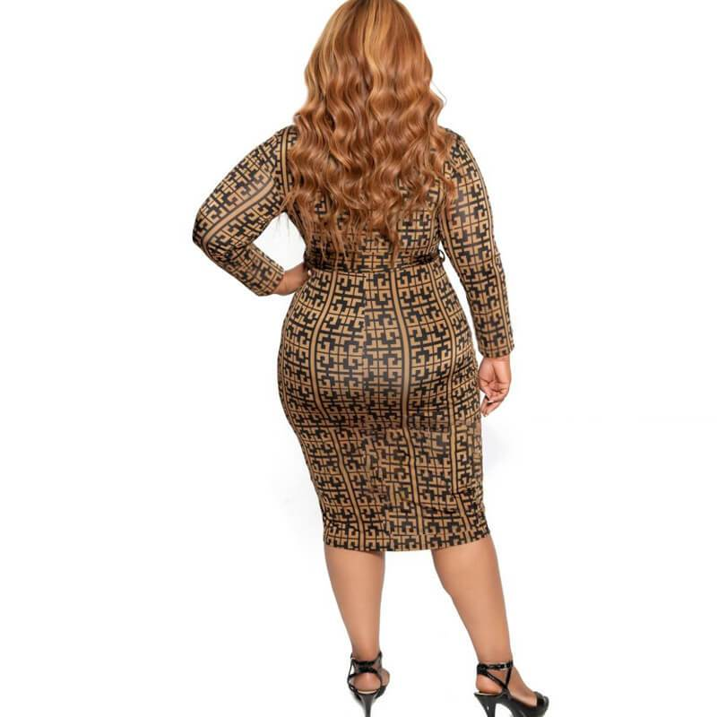 Cheap Plus Size Dresses - brown back