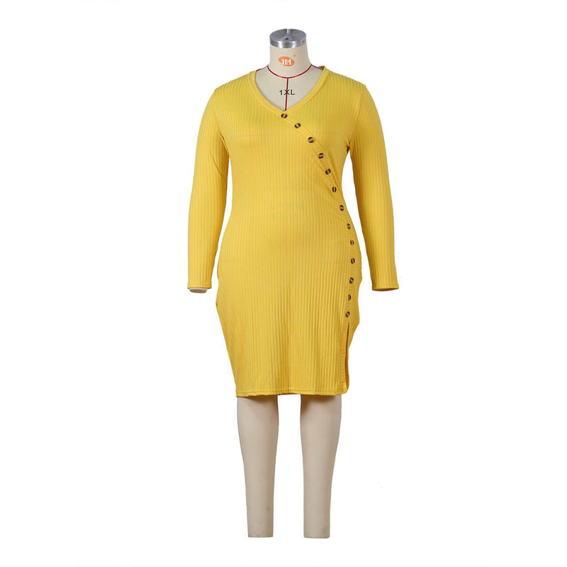 Plus Size Special Occasion Dresses - yellow model picture