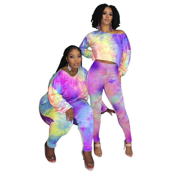 Plus Size Dye The Two-piece Set - purple color