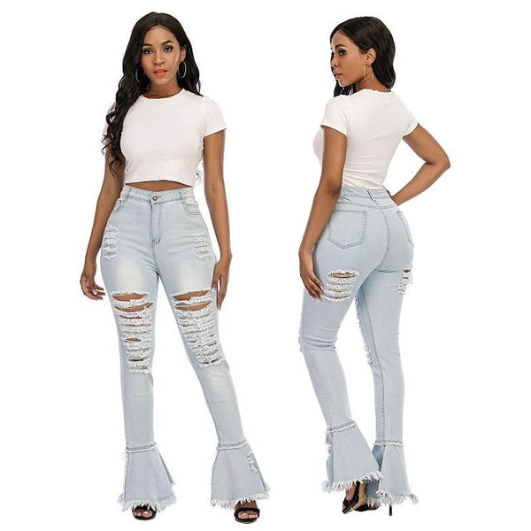 Plus Size Echoine Sexy Ripped Women Jeans