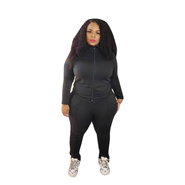 Plus Size Fashion Two-piece Sets - black positive