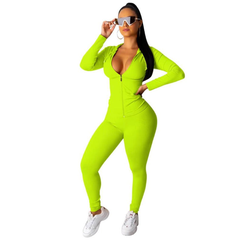 2 Piece Long Sleeve Set green color