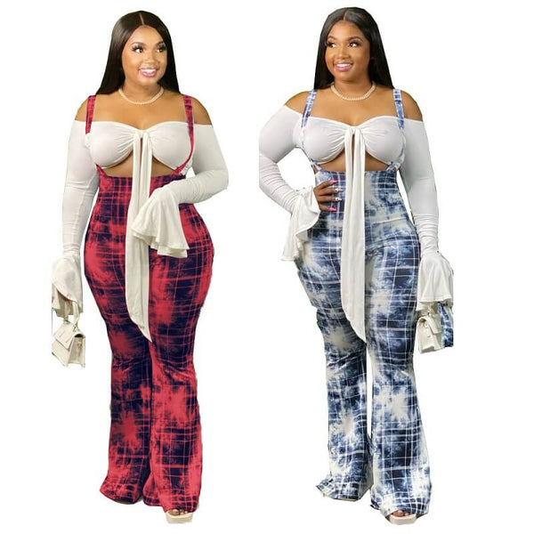 Plus Size  Flared Suspender Trousers