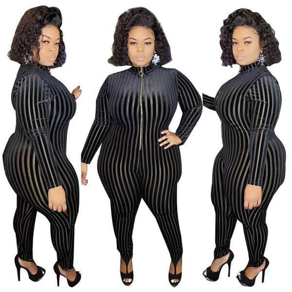 Plus Size Flocked Striped Jumpsuit