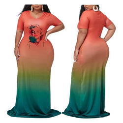 Plus Size Maxi Dresses For Summer - orange main picture