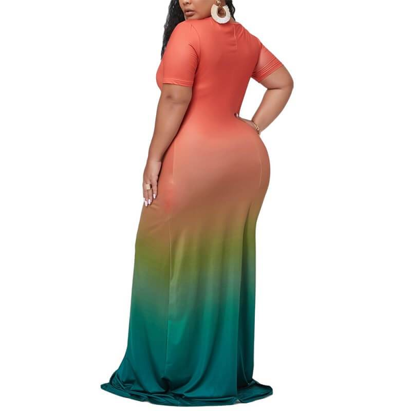 Plus Size Maxi Dresses For Summer - orange back