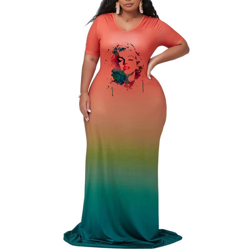 Plus Size Maxi Dresses For Summer - orange positive