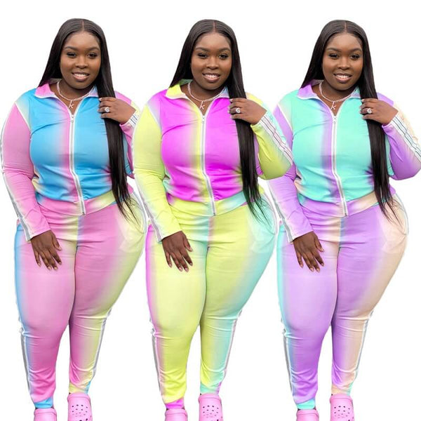 Plus Size Gradient Sports Suit - main picture