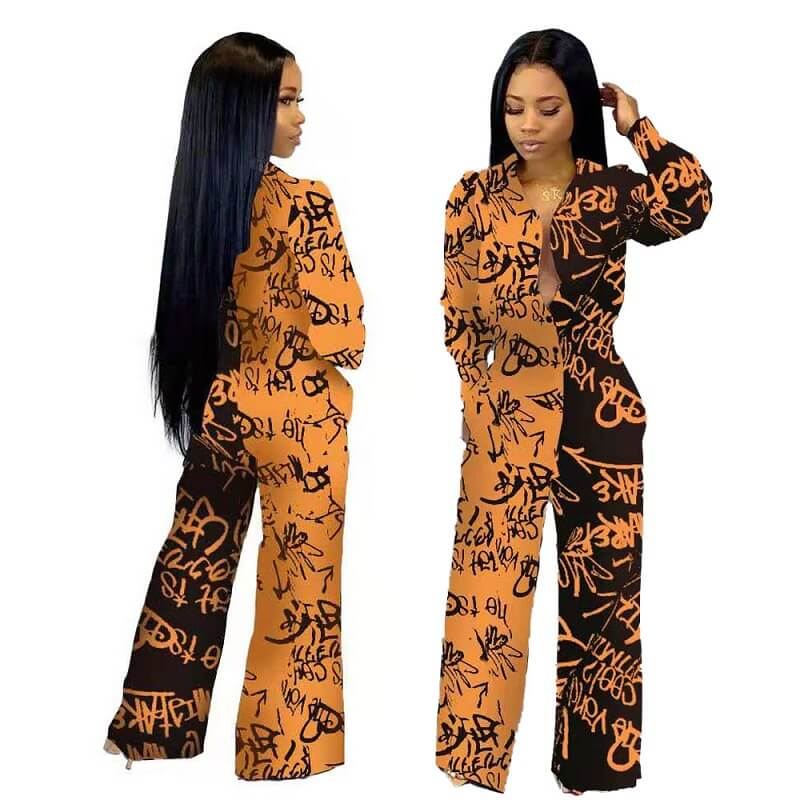 Graffiti Print Jumpsuits.