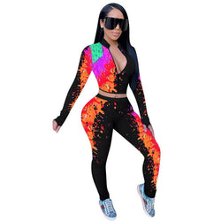 Graffiti Print Long Sleeve Two Piece Sets