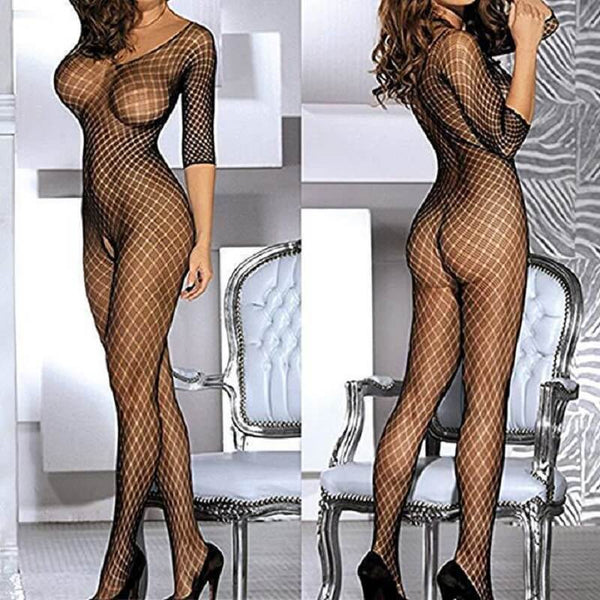 Sexy Attractive Fishnet Lingerie - Front View And Back View