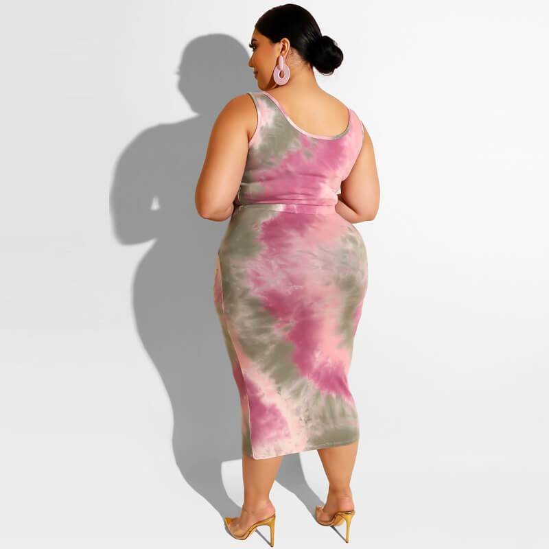 Plus Size Casual Two Piece Sets - pink back