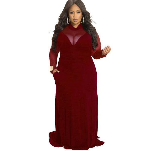 Plus Size Velvet Dress -wine red color