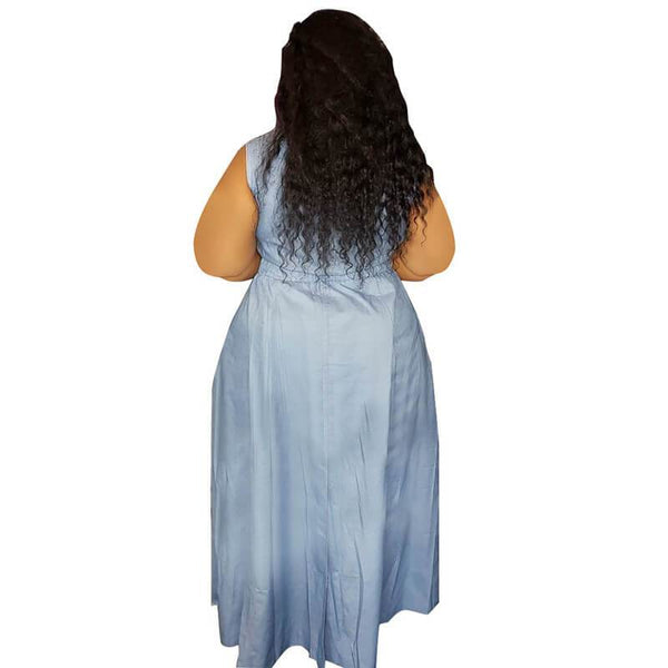 High Waist A-line Vest Denim Dress Plus Size