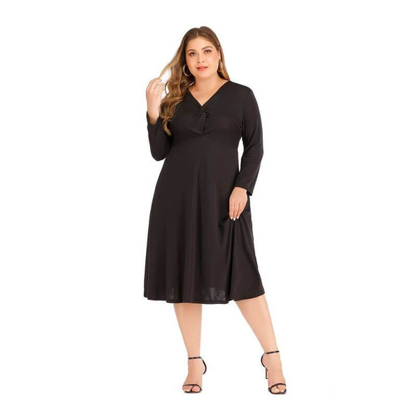 Plus Size Long Black Dress - black positive
