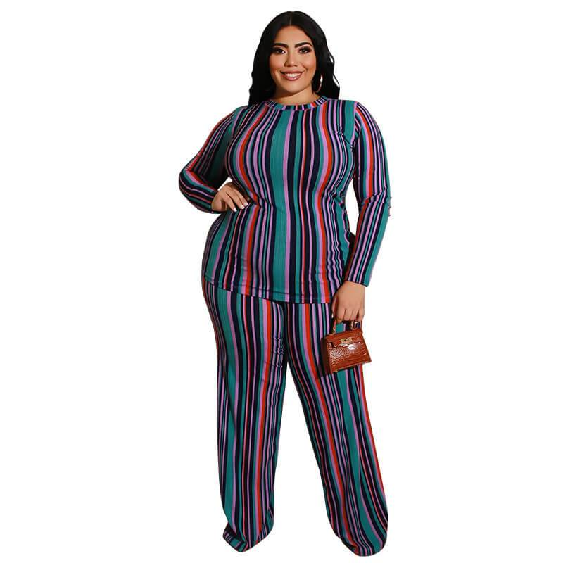 Plus Size Knitted Leisure Suit - green color