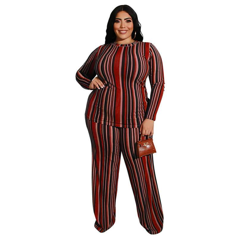 Plus Size Knitted Leisure Suit - red color