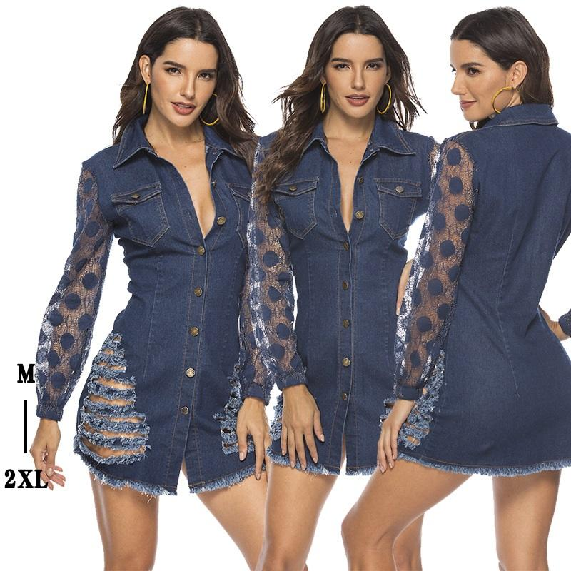 Lace Tight Denim Sexy Dress