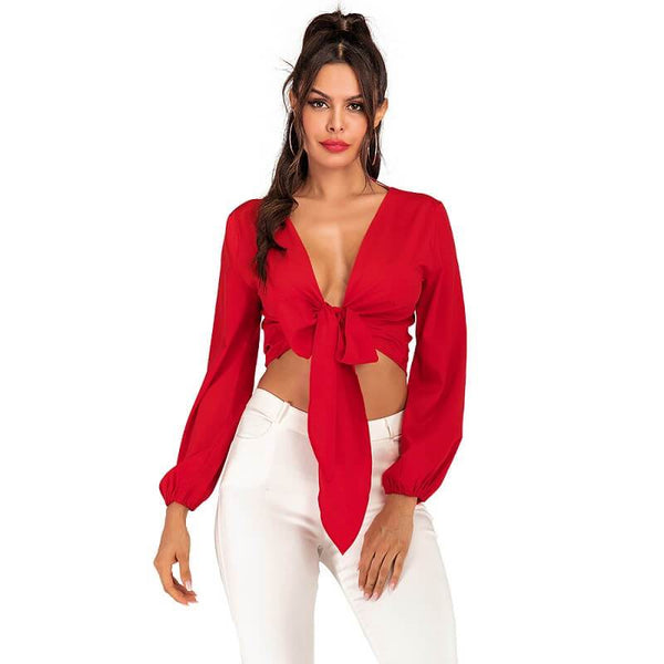Lantern Sleeve Blouse Plus Size - red color